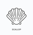scallop line icon outline vector image vector image