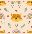 seamless pattern with baface fox and rainbow vector image