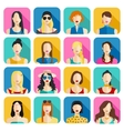 set women avatars icons colorful female faces vector image vector image