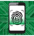 Smartphone fingerprint security vector image vector image
