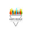 social conceptual emblem with colorful people vector image vector image