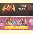 students beer party horizontal banners vector image