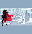 superheroine standing tall winter silhouette vector image vector image