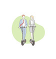 teamwork business modern scooters concept vector image