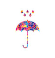 umbrella with water drops rain protection symbol vector image