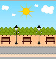 view of a public park with a lamp and a bench vector image vector image