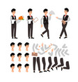 waiter wearing the uniform holding a dish of vector image vector image