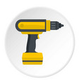 yellow electric screwdriver drill icon circle vector image vector image