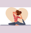young sporty woman practicing yoga doing mermaid vector image