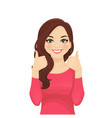 young woman showing thumb up vector image vector image