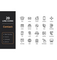 20 thin line contact icons vector image