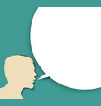 abstract speaker silhouette with big empty bubble vector image