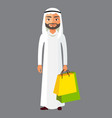 arab business man with shopping bag vector image