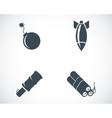 Black bomb icons set