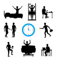 cartoon silhouette black daily routine character vector image vector image