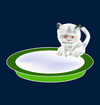 cat and plate with milk icon symbol design white vector image