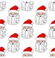 Christmas seamless pattern with Santa Claus face vector image