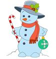 cute and happy cartoon xmas snowman vector image