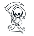 cute cartoon grim reaper with scythe isolated vector image vector image