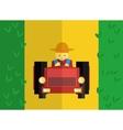 farmer rides tractor in field vector image