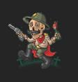 funny skeleton bring revolver and molotov vector image