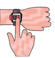 hand with smartwatch money button application vector image vector image