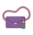 handbag and lipstick icon on white background vector image vector image