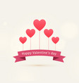 happy valentines day background with flying hearts vector image vector image