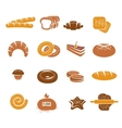 Isolated Bakery Icons Colorful Set vector image vector image