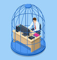 isometric business man working at desk trapped vector image
