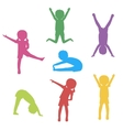Kids Exercising Silhouette vector image vector image