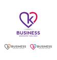 letter k with heart outlines logo vector image vector image