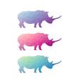 low poly rhinoceros logo vector image vector image