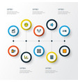 media icons colored line set with audio mixer vector image vector image