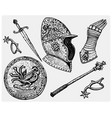 medieval symbols helmet and gloves shield with vector image vector image