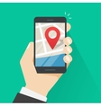 Mobile phone geo location smartphone gps vector image