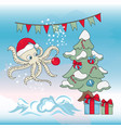 octopus christmas tree new year color vector image