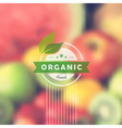 Organic food retro label blurred background vector image