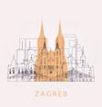outline zagreb skyline with landmarks vector image vector image