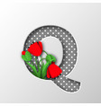 paper cut letter q with poppy flowers vector image