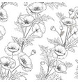 pattern poppy flowers on a white background vector image vector image