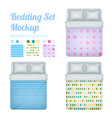 queen bedding patterns set vector image vector image