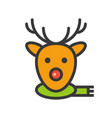 reindeer face christmas related style design vector image vector image