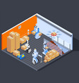 robotic warehouse workers composition vector image vector image