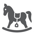 rocking horse glyph icon baby and toy vector image