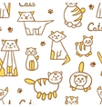 Seamless pattern with hand drawn cats on white vector image