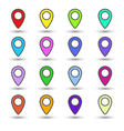 Set of colour map location signs markers vector image