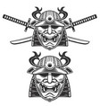 set of the samurai mask with crossed swords vector image vector image