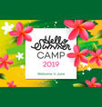 summer camp 2019 handdrawn lettering in square vector image vector image