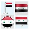 Syria flag - sticker button label flagstaff vector image vector image